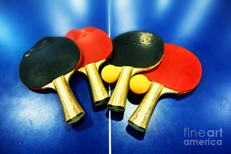 Ping-pong Photograph - Vibrant Ping-pong Bats Table Tennis Paddles Rackets on Blue by Beverly Claire Kaiya