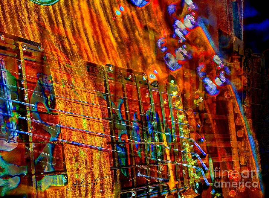Acoustic Photograph - Vibrations Digital Guitar Art Bt Steven Langston by Steven Lebron Langston