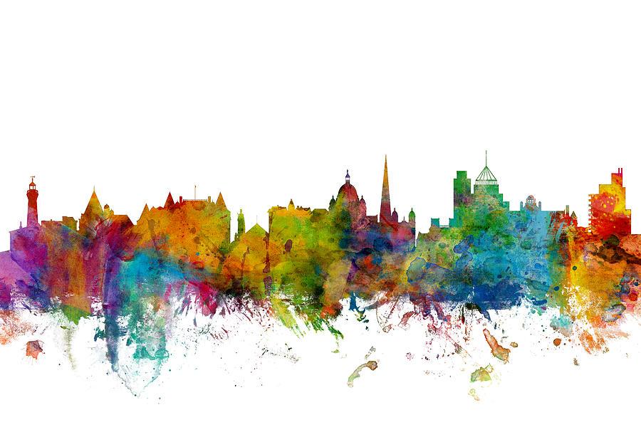 City Skyline Digital Art - Victoria Canada Skyline by Michael Tompsett