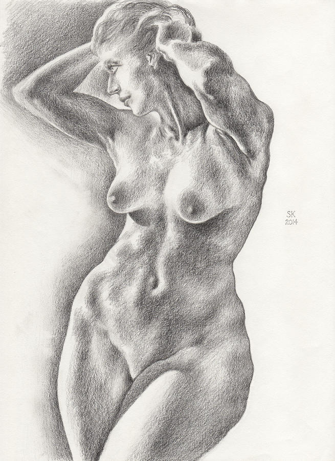 Victoria in 8B Standing Female Nude by Scott Kirkman