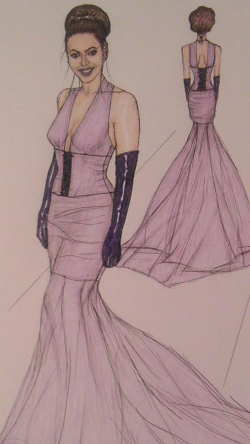 Evening Gowns Drawing - Victoria Renees Fashions by Vicki  Jones