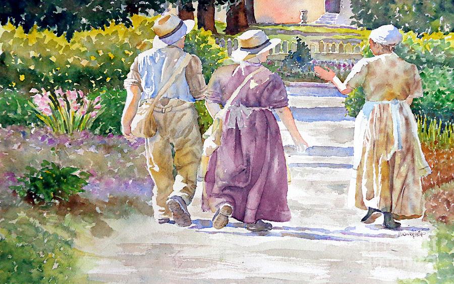 Watercolor Painting - Victorian Gardeners by Marisa Gabetta