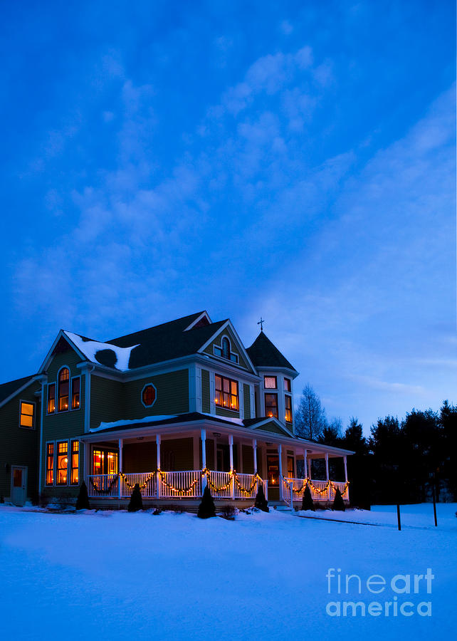 Christmas Photograph - Victorian House At Christmastime by Diane Diederich