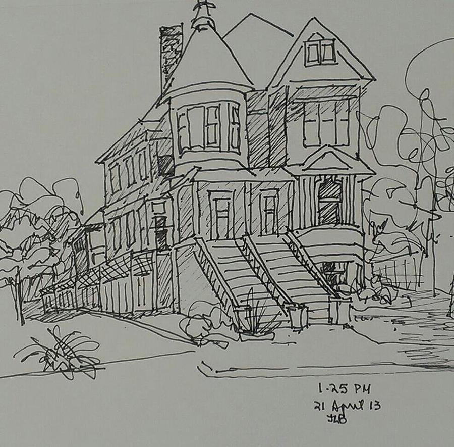 Victorian House Drawing by Janet Butler