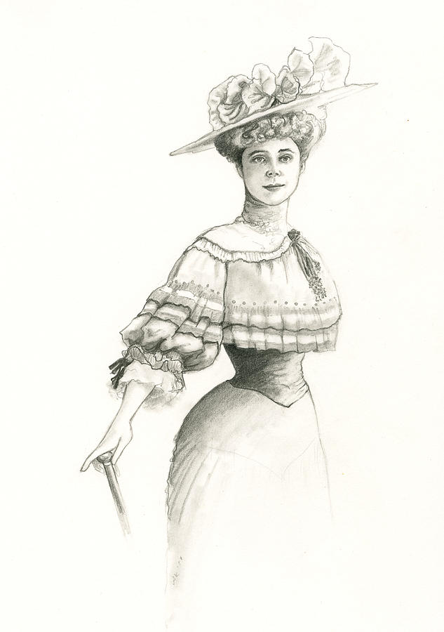 Victorian Lady Drawing By Andrea Keating