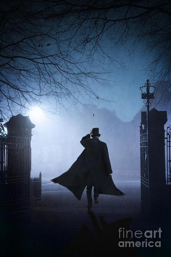 Victorian Man Running At Night In Fog Photograph By Lee Avison