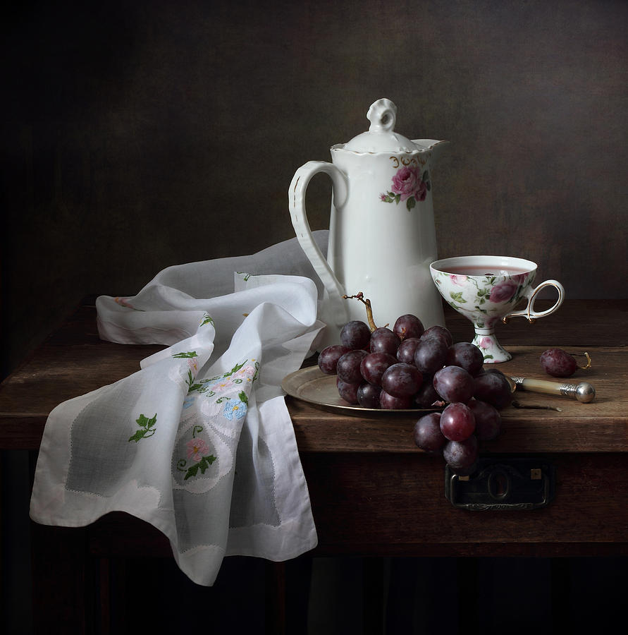 Victorian Style Still Life With Grapes Photograph by Helen ...