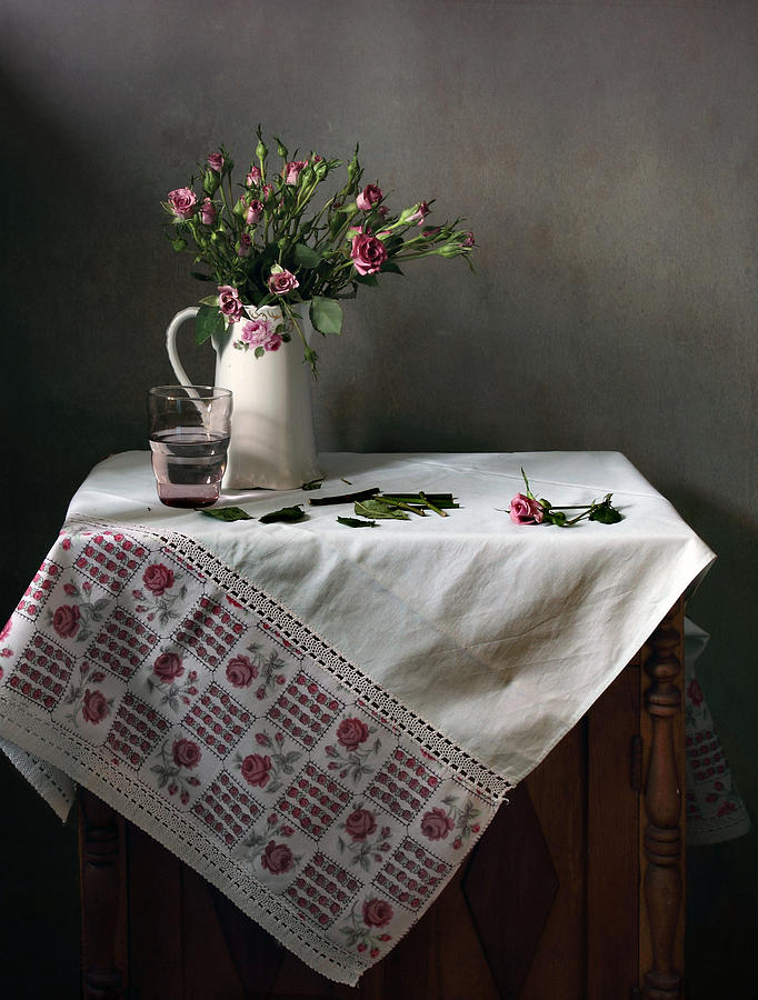 Victorian Photograph - Victorian Style Still Life With Pink Roses by Helen Tatulyan