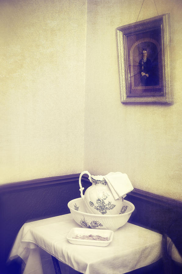 Patterned Photograph - Victorian Wash Basin And Jug by Amanda Elwell