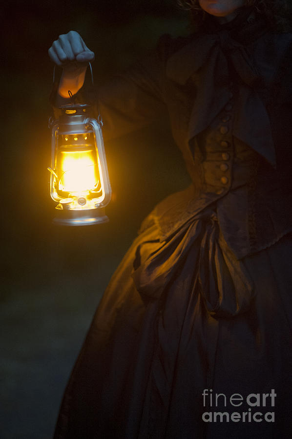 Victorian Woman Holding A Hurricane Lamp Photograph By Lee