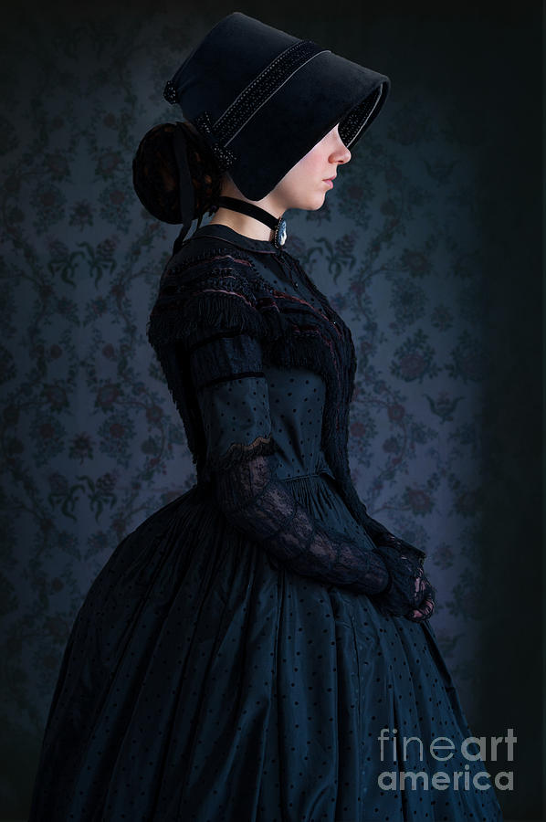 Victorian Woman In A Black Mourning Dress Photograph By
