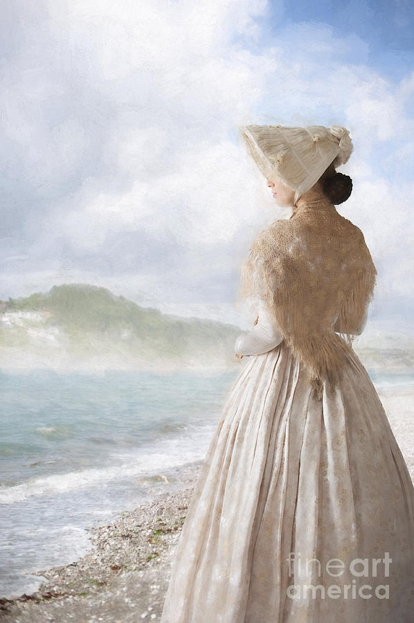 Victorian Photograph - Victorian Woman On The Beach Looking Out To Sea by Lee Avison