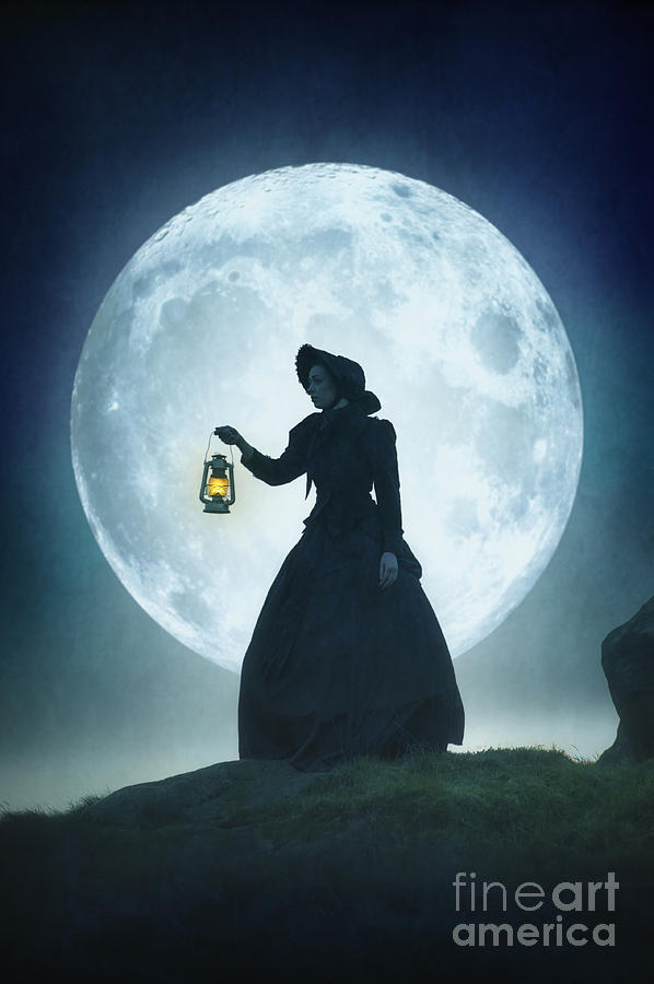 Victorian Woman With Lantern In Silhouette Against A Full