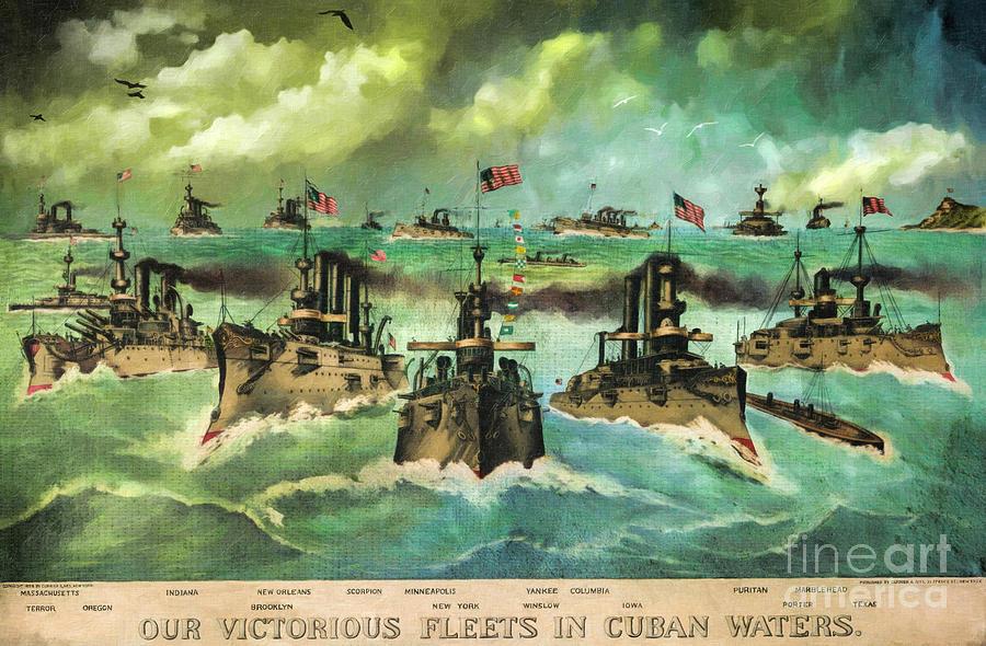 U.s.navy Digital Art - Victorious Navy - 1898 by Lianne Schneider