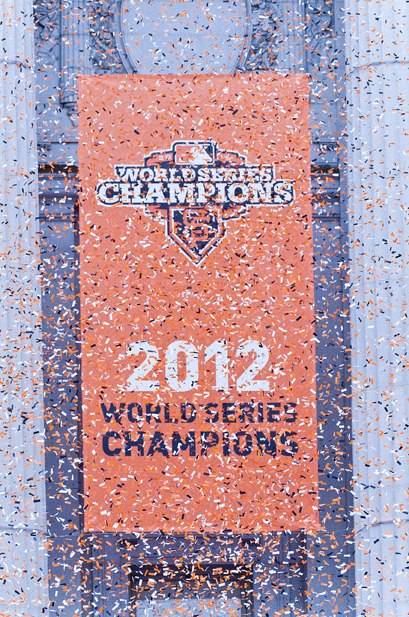 Confetti Photograph - Victory Parade Banner For The San Francisco Giants As The 2012 World Series Champions by Scott Lenhart