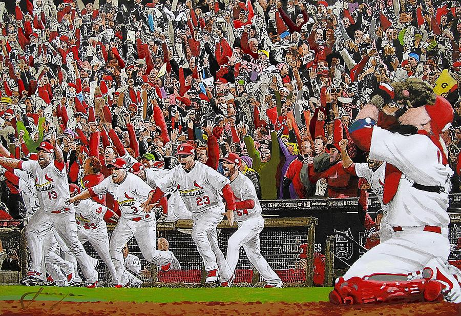 Baseball Painting - Victory - St Louis Cardinals Win The World Series Title - Friday Oct 28th 2011 by Dan Haraga