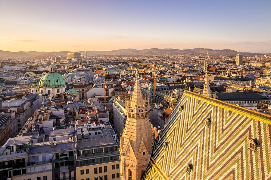 Vienna City View at Twilight from St Stephens Cathedral Photograph by Pintai Suchachaisri