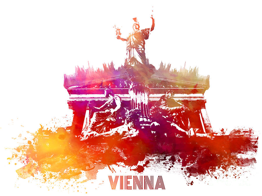 Vienna Digital Art - Vienna skyline by Justyna Jaszke JBJart