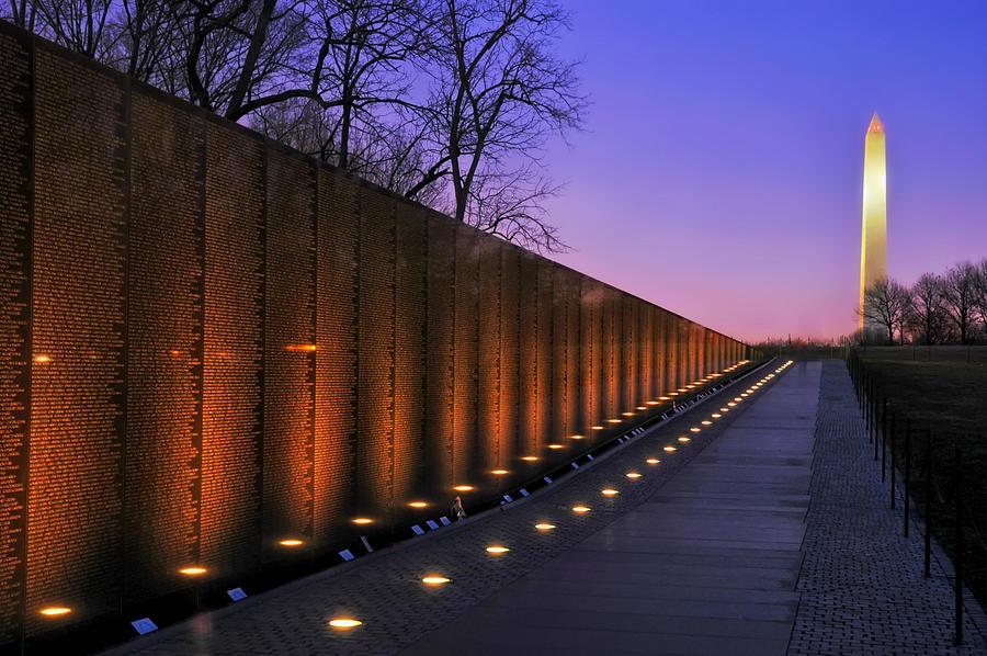 Vietnam Veterans Memorial Photograph - Vietnam Veterans Memorial at Sunset by Mountain Dreams