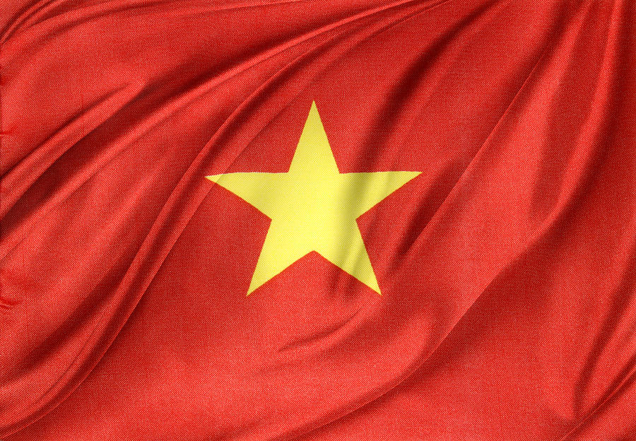 Banner Photograph - Vietnamese Flag by Les Cunliffe