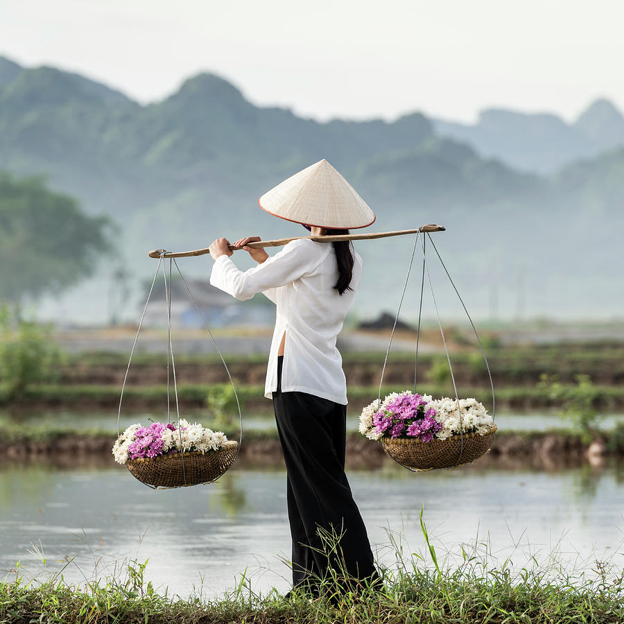 Vietnamese Woman Carrying Baskets Of Photograph by Martin Puddy