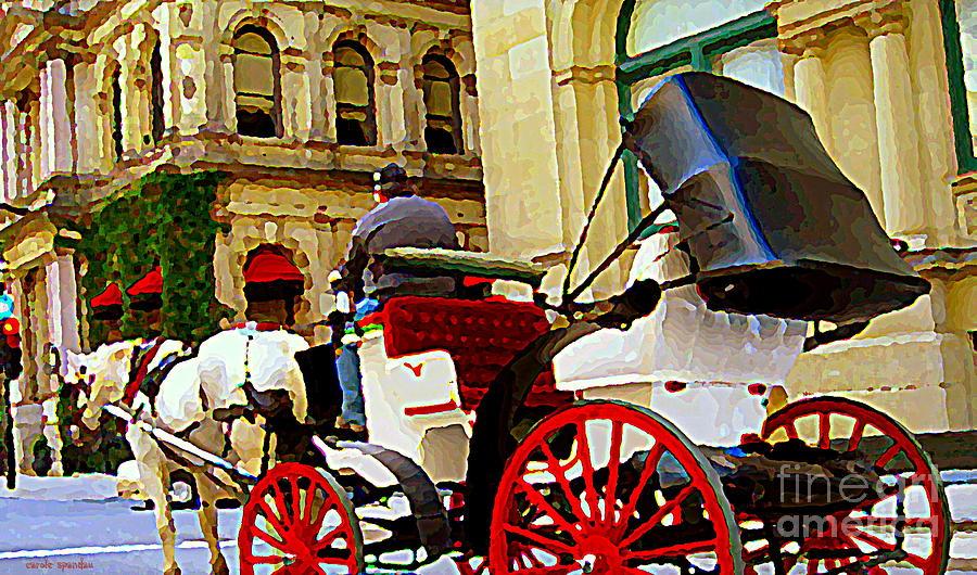 Rue Notre Dame Painting - Vieux Port Caleche Scene White Horse Red Wheels Trots Along Cobbled Stones Streets Carole Spandau  by Carole Spandau