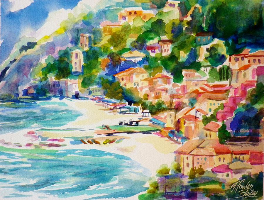 Cinque Terre Painting - View from Above at Montorossa Italy by Therese Fowler-Bailey