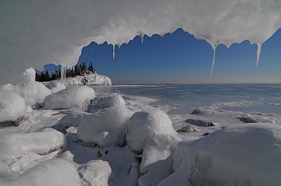Lake Superior View Photograph - View From An Ice Cave by Sandra Updyke