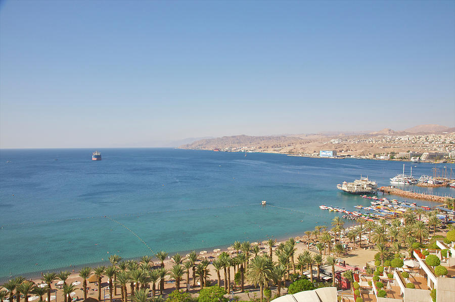 View From High Up Of Eilat Shoreline Photograph by Barry Winiker