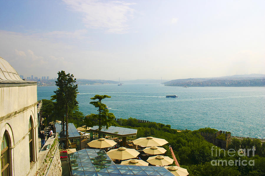 Topkapi Palace Photograph - View From Konyali Restaurant To Bosphorus Bridge Connecting Europe And Asia Istanbul Turkey by PIXELS  XPOSED Ralph A Ledergerber Photography