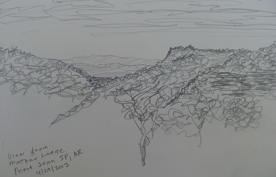 Petit Jean State Park Drawing - View From Mather Lodge by Joel Deutsch