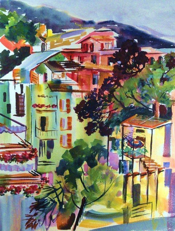 Cinque Terra Painting - View From Our Hotel Window Cinque Terre by Therese Fowler-Bailey