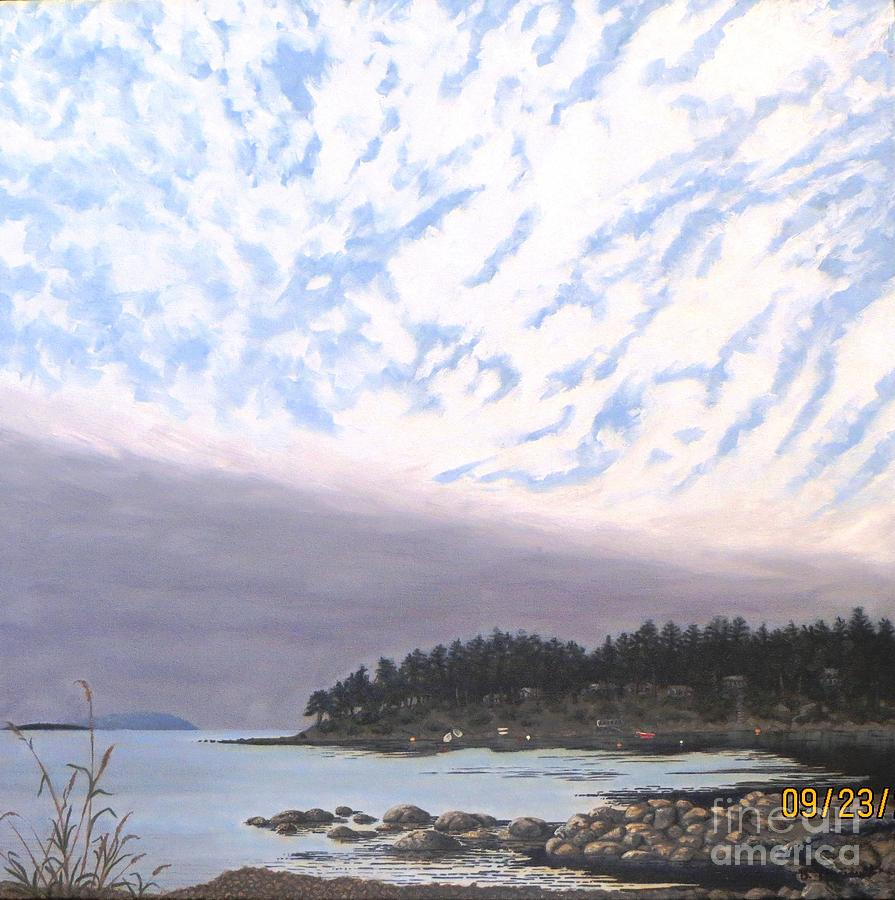 Sky Painting - View From The Haven Beach Gabriola by Beverly Theriault