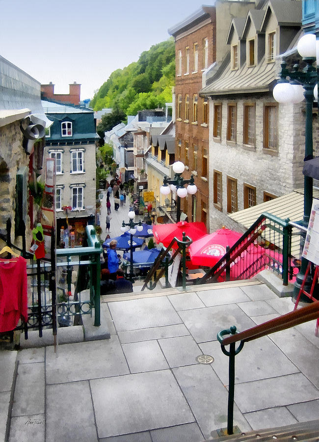 Quebec City Digital Art - View From The Stairs Old Quebec City  by Ann Powell