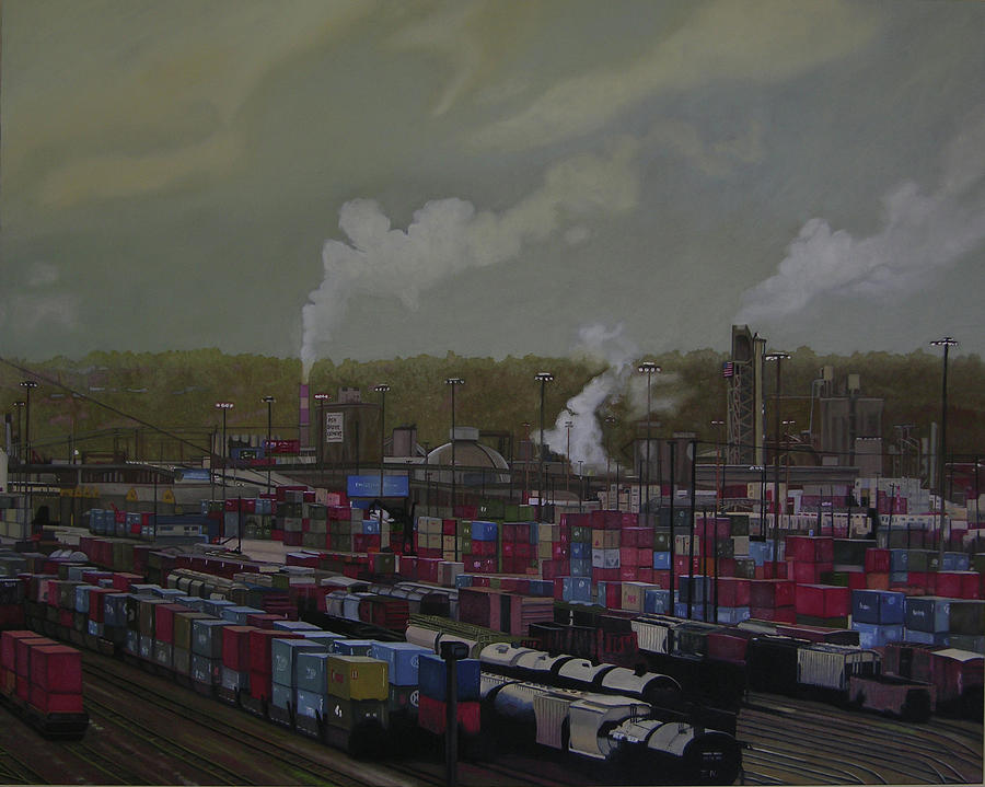 Industrial Landscape Painting - View From Viaduct by Thu Nguyen