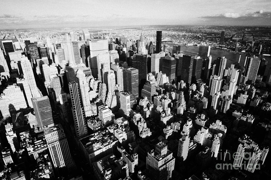 Usa Photograph - View North East Of Manhattan Queens East River From Observation Deck Empire State Building by Joe Fox