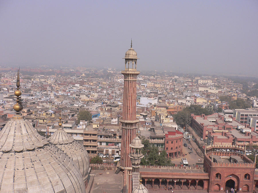 View Of A Mosque (jama Masjid) And Delhi Photograph by Leontura