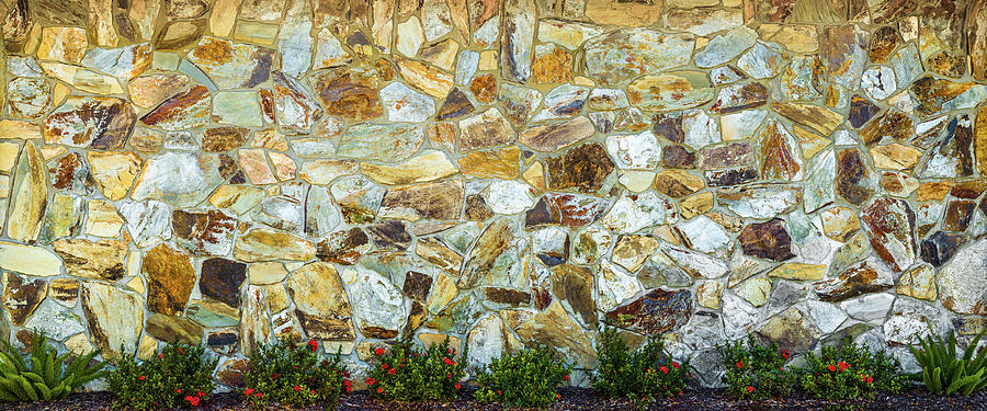 Horizontal Photograph - View Of A Stone Wall by Panoramic Images