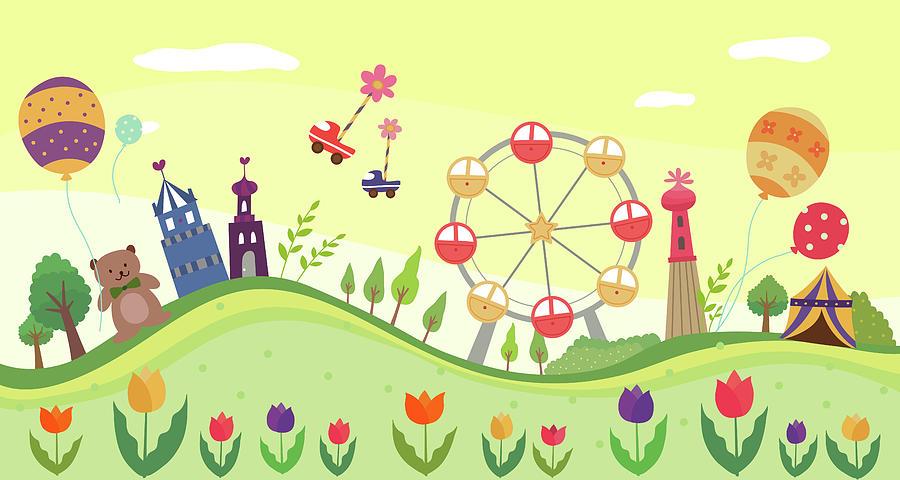 View Of Amusement Park Digital Art by Eastnine Inc.