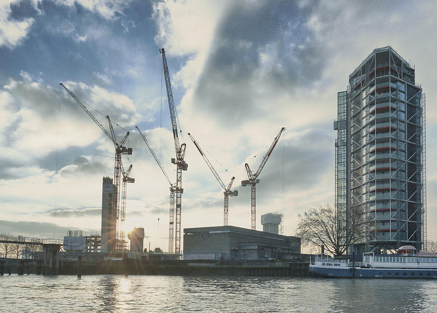 View of apartment block development on the Thames, London, UK Photograph by Frank and Helena