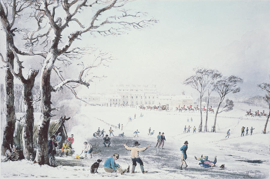 Print Drawing - View Of Buckingham House And St James Park In The Winter by John Burnet