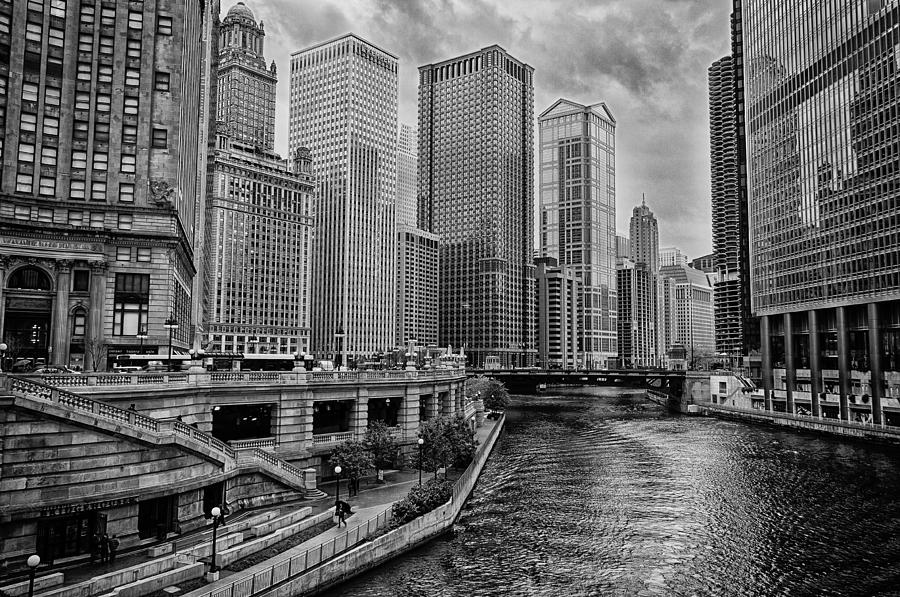 Chicago Photograph - View Of Chicago River by Mike Burgquist