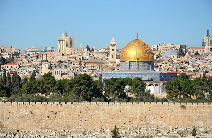 View Of Jerusalem Skyline From Mount Of Photograph by Madzia71