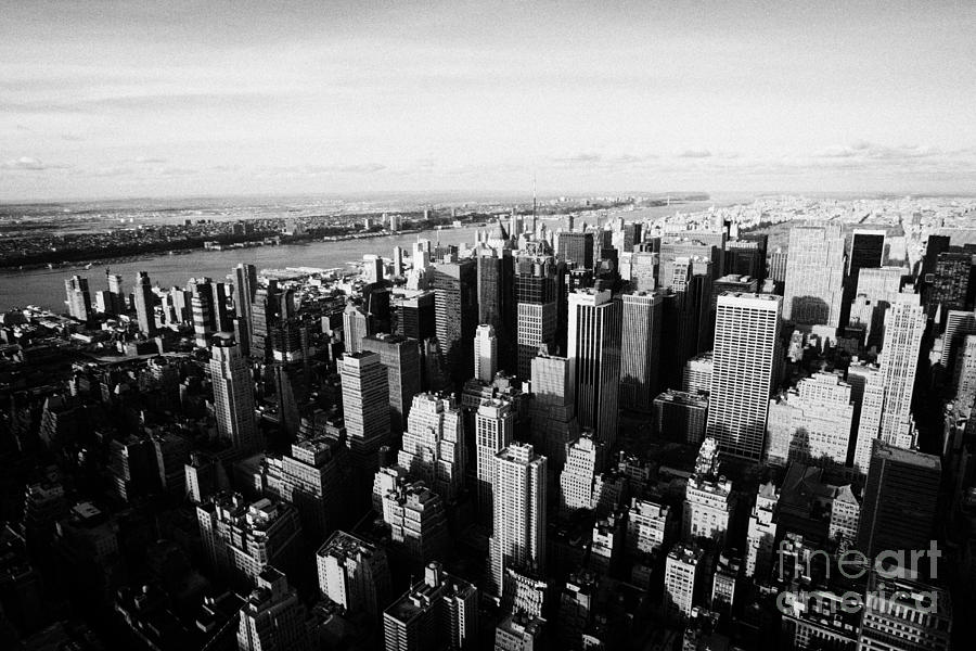 Usa Photograph - View Of Manhattan North West Towards Hudson River From Empire State Building New York by Joe Fox