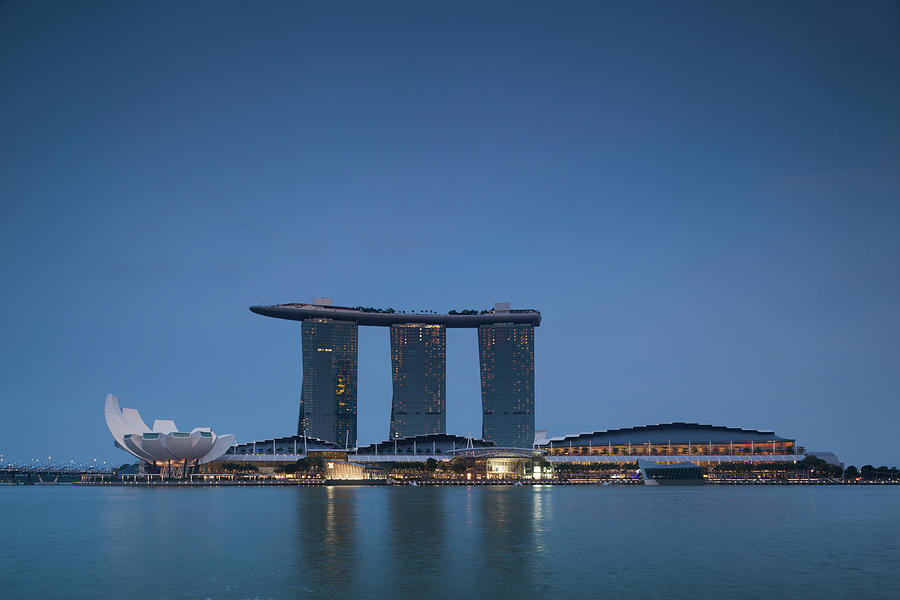 Horizontal Photograph - View Of Marina Bay Sands Hotel by Panoramic Images