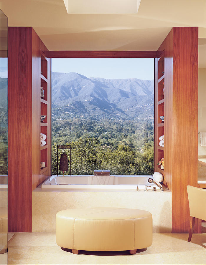 View Of Mountain Through Bathroom Window Photograph by Mary E. Nichols