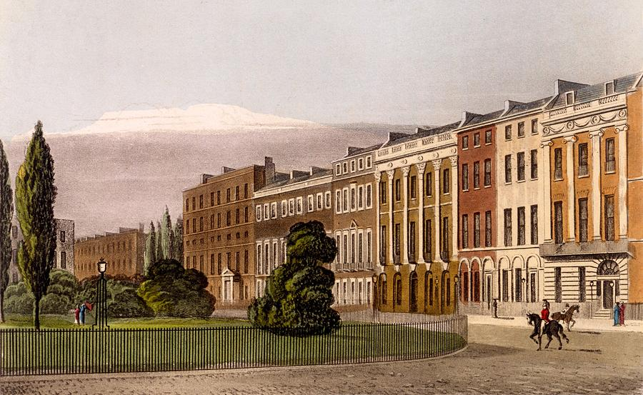 North Side Drawing - View Of Portman Square, North Side, 1816 by Rudolph Ackerman
