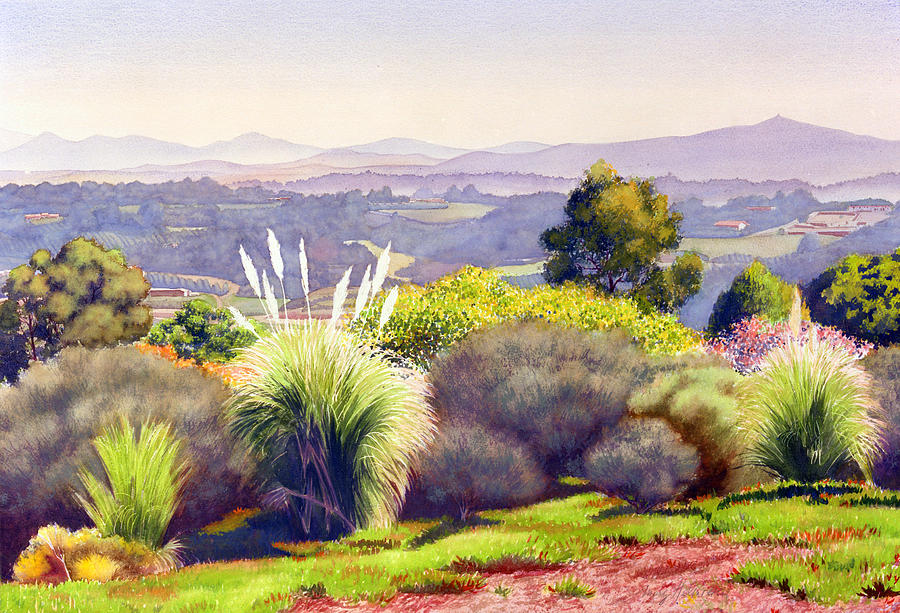Landscape Painting - View of Rancho Santa Fe by Mary Helmreich