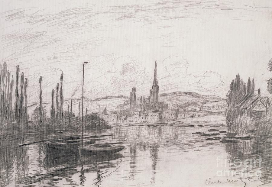 View of Rouen Drawing by Claude Monet