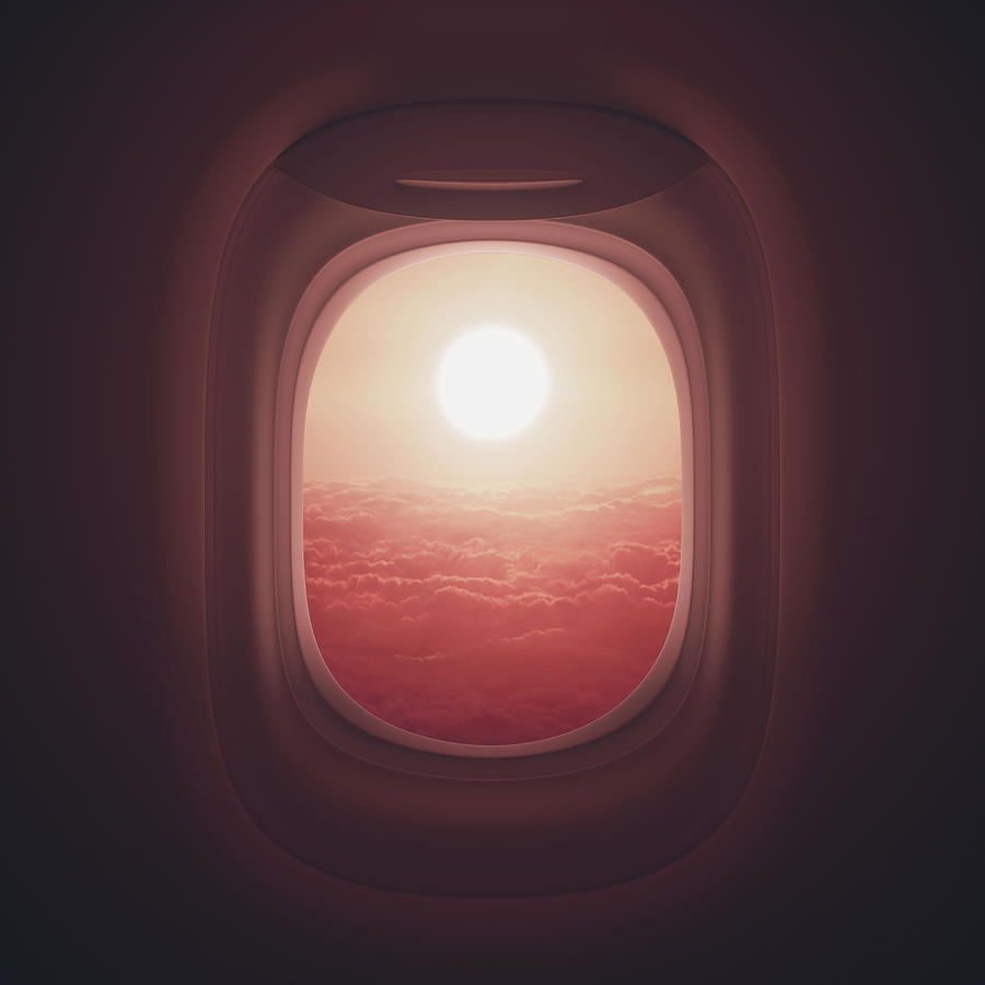 sunset airplane window drawing
